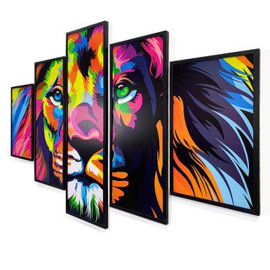 Quadro-Mosaico-5-Partes-Leao-Colorido-150x95-Preta